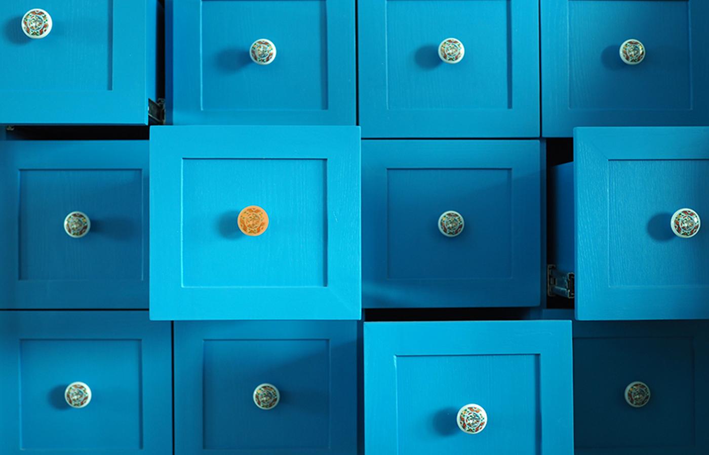 blå lådor